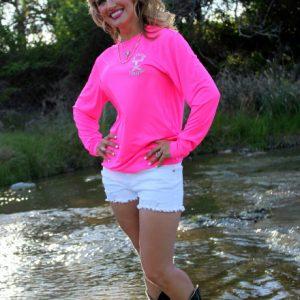 Neon Pink Jolly Roger Buck LS